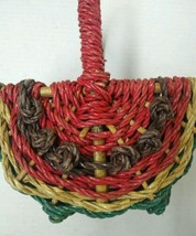 Vintage Red/Green Watermelon Woven Wicker UTENSILS Basket with Dividers - $38.00
