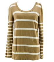Ann Taylor Loft Women's 100% Cotton Brown Striped Long Sleeve Sweater Si... - $14.85