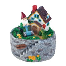 Solar Gnome Statue, Storybook Home Village Outdoor Gnomes Figurines - $31.49