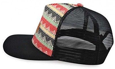 63aac28d06e347 Mato Woven Trucker Hat Snapback Flat Brim Boho Tribal Pattern Baseball Cap  Black