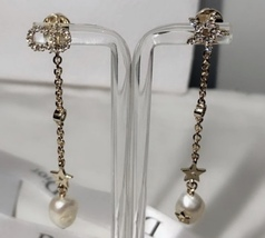 Authentic Christian Dior 2019 SHINY-D EARRINGS CD Crystal Pearl Dangle Drop Star image 8