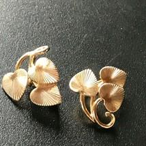 Vintage CORO Signed Etched Goldtone Triple Heart Shaped Leaves Leaf Clip... - $14.89