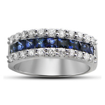 14K White Gold Plated 925 Silver Princess Cut Blue Sapphire Engagement Band Ring - $72.99