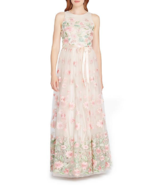 NWT TAHARI ASL LACE PINK EMBROIDERER FLORAL MAXI DRESS GOWN SIZE 16 $298 - $142.49