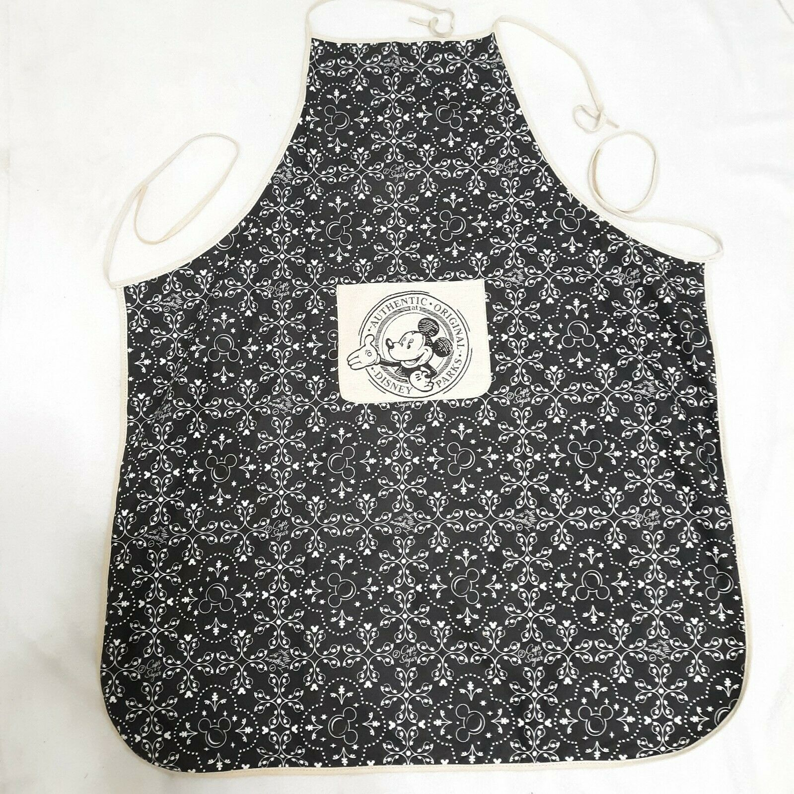 Disney Parks Mickey Mouse Chef Apron Authentic Adult black white World Land  - $37.77