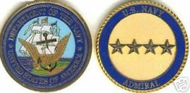 USN NAVY ADMIRAL 4 SILVER  STAR  CHALLENGE COIN - $16.24