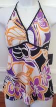 Nike Swim Tankini Top Women Halter Swimsuit Black Orange Purple Multi Si... - $14.84