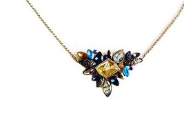 BLACK FRIDAY Multi Color Rhinestone Pendant Chain Necklace - $9.97