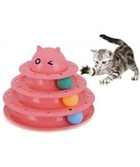 Cat And Kittens Toy With Interactive Intelligence Track Ball Tower - Ne... - $22.88
