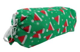 """NEW 18""""x 28"""" Christmas Santa Claus Hats Green Flocked Gift Bag Drawstring Sack image 2"""