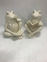 Pair ceramic Frogs Reading Betty Croaker Redeep throat NIB unused garden - $34.64