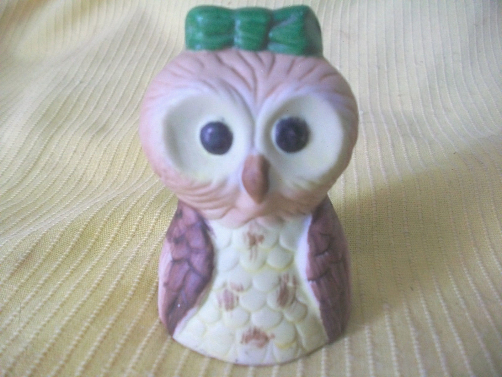 2 OWL FIGURINES 1 PORCELAIN BELL ANIMAL BIRDS CERAMIC VTG DECORATIVE COLLECTIBLE