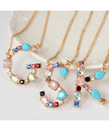 Fashion 26 Letter Necklace Multicolor Pendant K A N Z J Letters Necklace... - $9.78