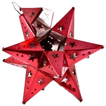 """Small Red 6.5"""" Hanging Tin Mexican Moravian Star Ornament Decoration Jalisco image 2"""
