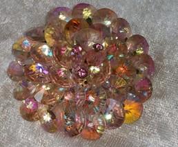 Vintage pink blue green hue crystal pin brooch rhinestone - $22.00