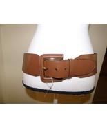 $42.00 Lauren Ralph Lauren Wide Covered-Buckle Stretch Belt, Size L, Brown - $21.04