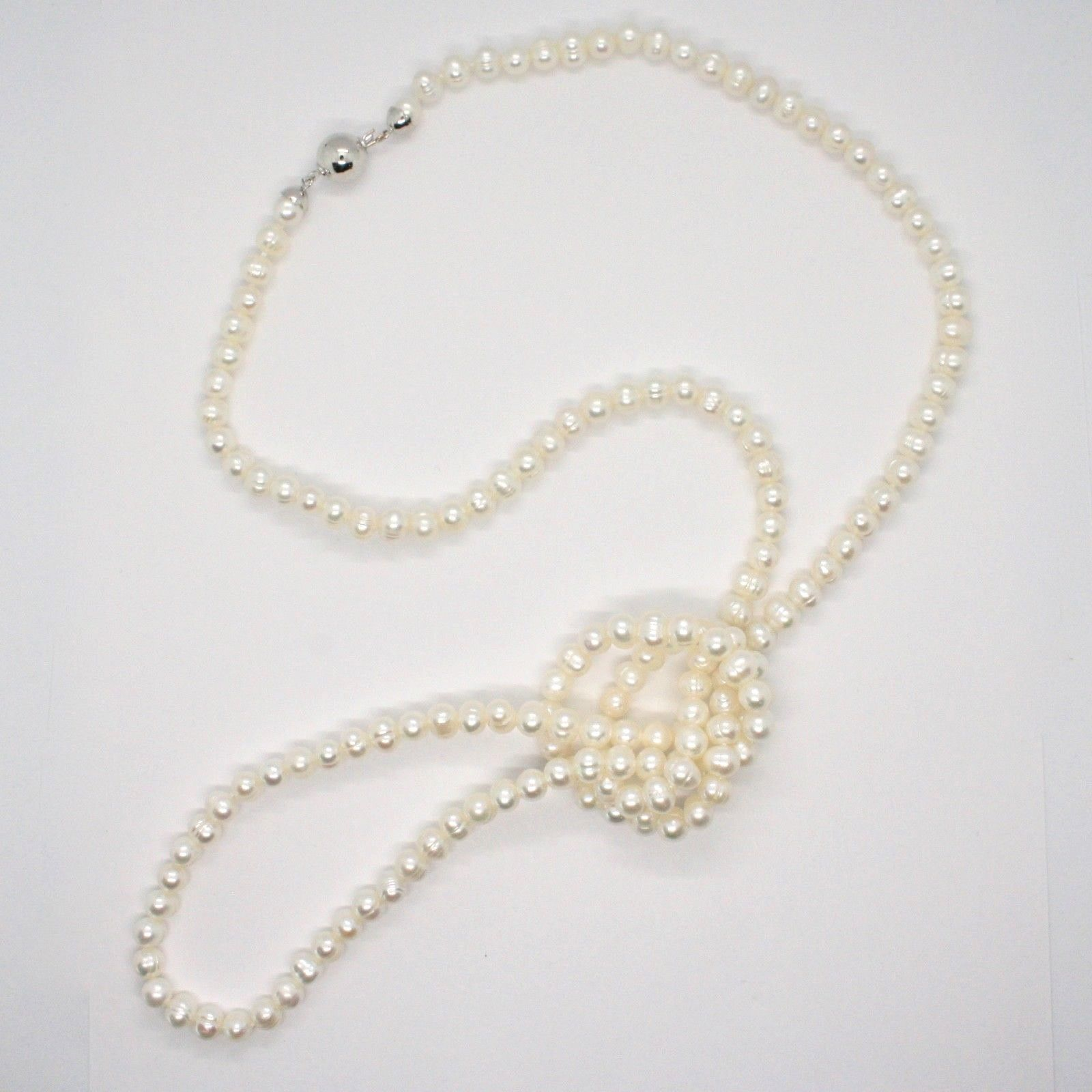 Collier Long 110 cm en or Blanc 18k Perles Blanches Eau Douce Made IN Italy