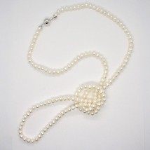 Collier Long 110 cm en or Blanc 18k Perles Blanches Eau Douce Made IN Italy - $679.24