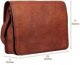"18"" Handmade Brown Leather Messenger Laptop Book Travel Cross body Bag - $36.40+"