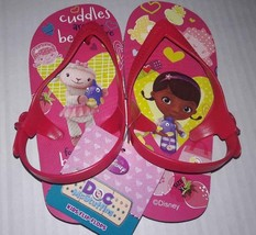 Doc McStuffins Girl Disney Jr Pink Flip Flops Sandals  M 5/6 NEW Beach S... - $3.89
