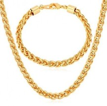 U7 18K Gold Plated Twisted Wheat Chain Necklace And Bracelet Set For Me... - £32.78 GBP