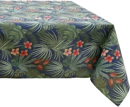 GREEN BLUE RED TROPICAL LEAF WATER REPELLENT ROUND TABLECLOTH DINING 152... - $23.65