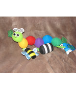 SASSY STUFFED PLUSH CATERPILLAR WORM BABY TOY CHIME RATTLE CARSEAT MOBIL... - $31.67
