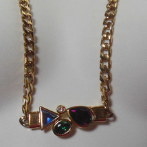 Signed Trifari Gold-tone Long Chain Glass Stone Pendant Necklace - $54.45