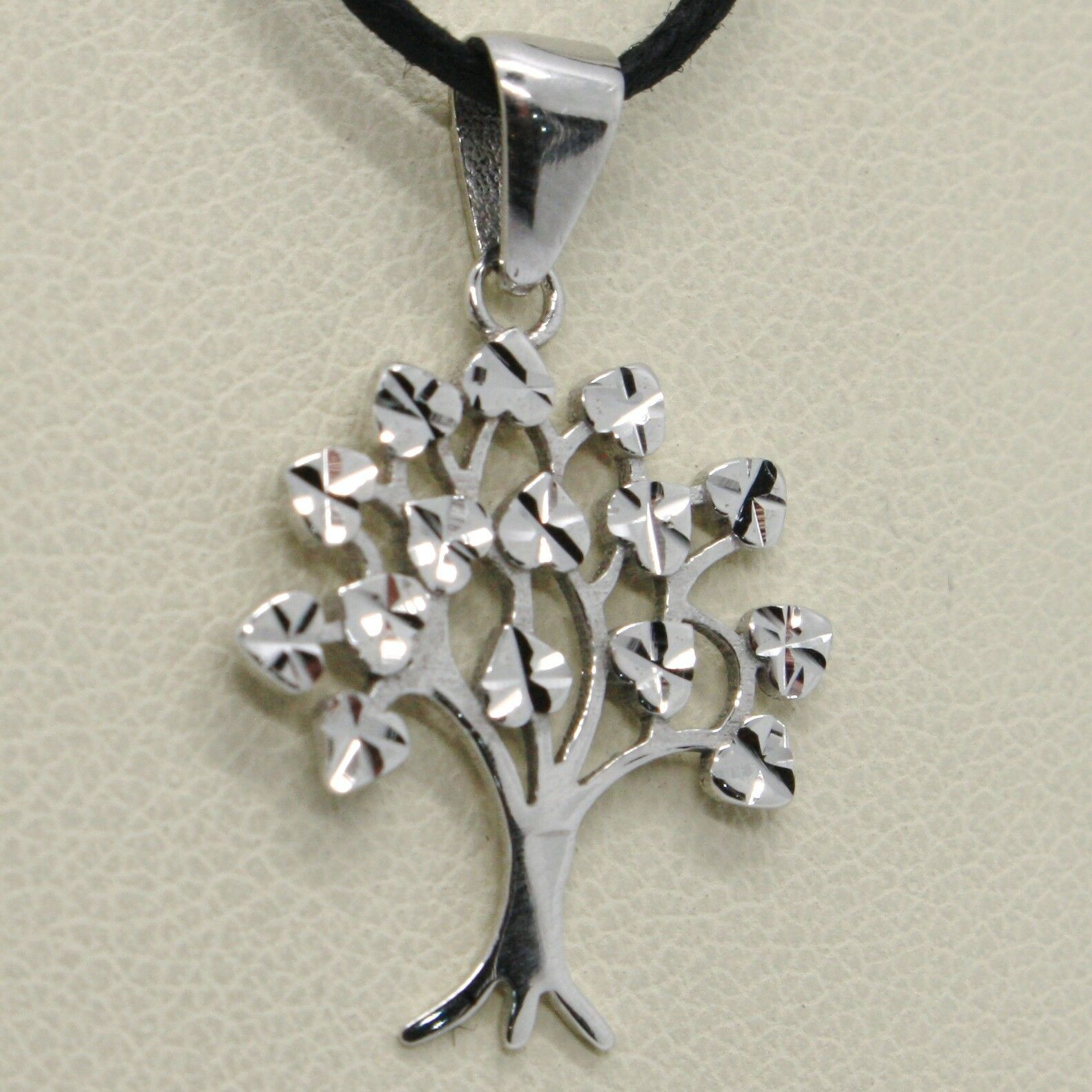 SOLID 18K WHITE GOLD 20 MM TREE OF LIFE WORKED PENDANT, LEAF HEART MADE IN ITALY