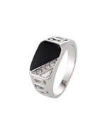Fashion Silver color Black Enamel Men Good Quality Man Finger Ring(8) - $13.49