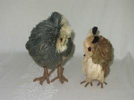 2 Owl Bird Figures Sisal Fiber Straw & Wood Vtg Figurines Natural Dried Rustic image 2