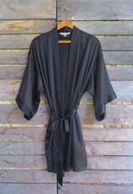 Victoria's Secret Black Satin Kimono Style Short Dressing Gown Robe Size M/L - $19.34