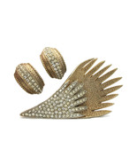 Vintage Pave Clear Rhinestone Wing Feather Brooch Lapel Pin and Clip Ear... - $59.99
