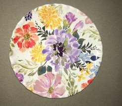 "Melamine Plates Floral 9"" Appetizer Dessert Salad Lunch set of 4 NEW Ruf... - $34.53"