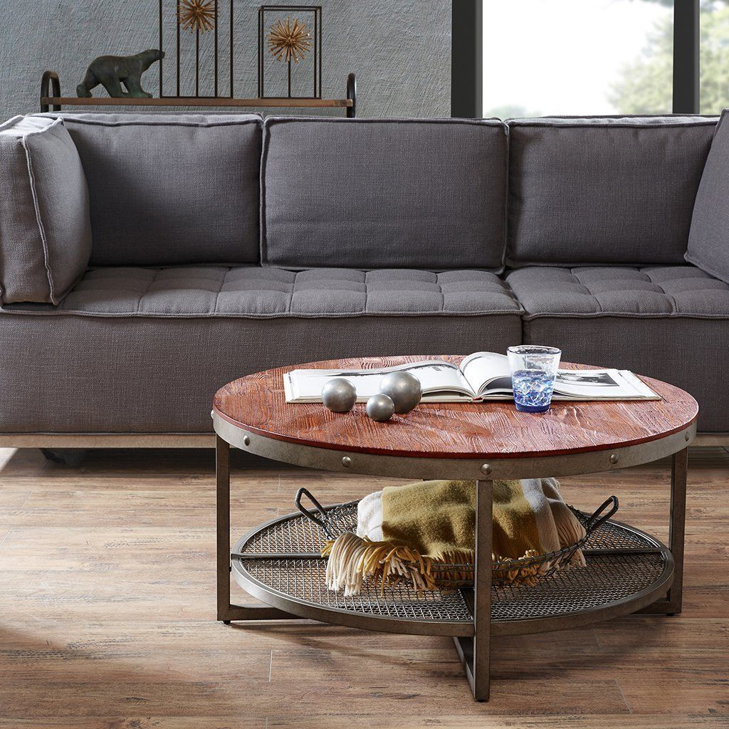Table Round Industrial Coffee Table Gratifying Ballard: Urban Loft Collection Wood Metal Industrial Chic Round