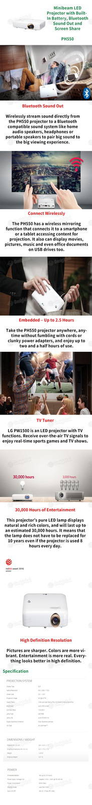 LG LG PH550 MINIBEAM Projector for Mobile / LED DLP Projector / HD1280X720 / 550