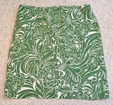 Anne Taylor Silk Skirt LOFT Women's Clothing Green White Floral Print Sz 12 - $24.99