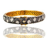 Rose Cut 3.55ct Diamond Pave 14k Gold Bangle .925 Silver Style Victorian Jewelry
