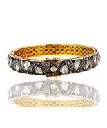 Rose Cut 3.55ct Diamond Pave 14k Gold Bangle .925 Silver Style Victorian Jewelry - $2,013.85