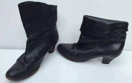 FRYE BOOTS Sz 9 Leather Fold Over Ankle Boot Slouch Heel black 77085 9M - $33.66