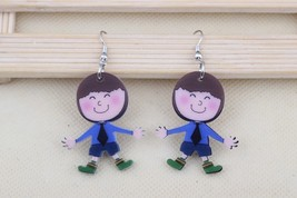 Bonsny angel boy uniform dressed lovely fairy printing drop earrings acr... - $10.00