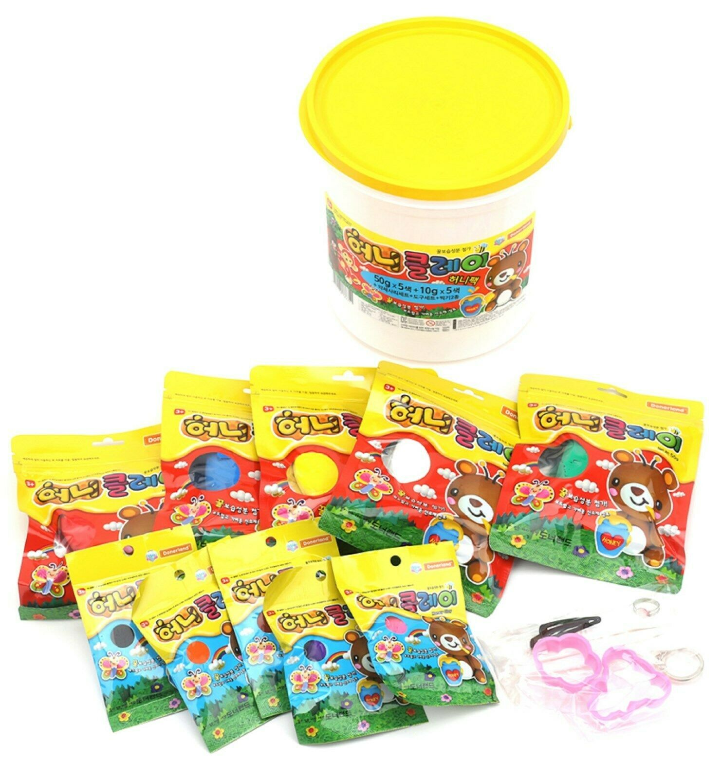 Donerland Honey Clay Honey Pack Set (50g x 5 Colors + 10g x 5 Colors) Dough Clay