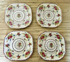 "Royal Albert Petit Point 4 Square Dessert Plates Needlepoint Floral England 6 ⅞"" - $45.80"