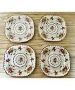 Royal Albert Petit Point 4 Square Dessert Plates Needlepoint Floral Engl... - $45.80