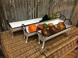 Set 3 Serving Trays, Farmhouse decor, Mini Metal Troughs, Centerpiece Di... - $99.00