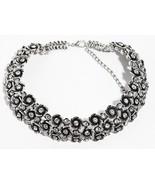Genuine Silver Flower Crystal Choker Round Zara Bib Statement Necklace N285 - $28.78