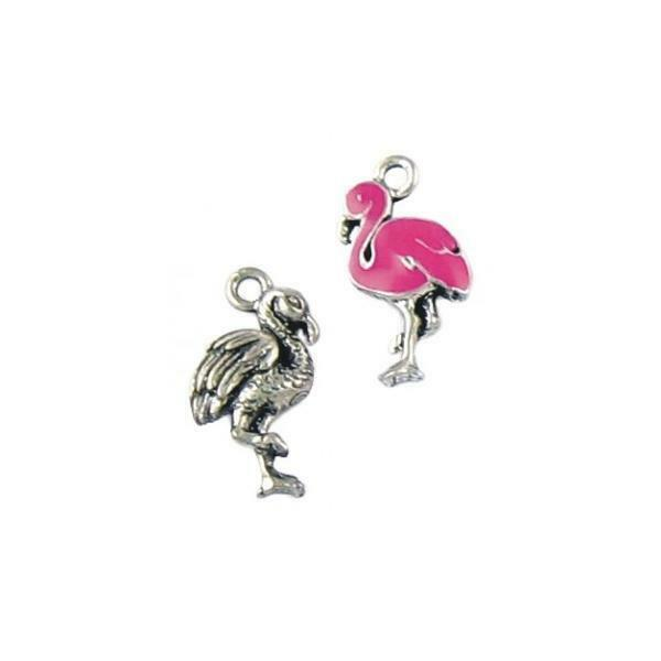 PINK FLAMINGO EPOXY ENAMELED FINE PEWTER CHARM PENDANT - 10mm x 20mm x 4mm