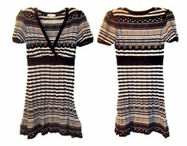 Size Jrs L - Forever Black, White & Gray Striped Sweater Dress w/V-Neckline - $28.49