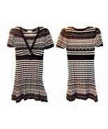 Size Jrs L - Forever Black, White & Gray Striped Sweater Dress w/V-Neckline - $28.49