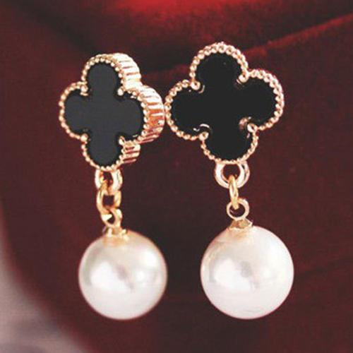 Clover Earrings Alhambra 1-Motif Black White Gold Lucky Four Leaf Pearl Dangle